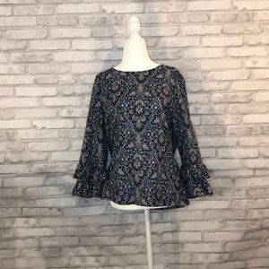 J.Crew blue floral top ruffle sleeves size 14
